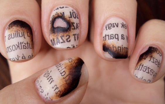 burned book nail art